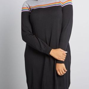 Modcloth Black Spontaneously Chic Sweater Dres